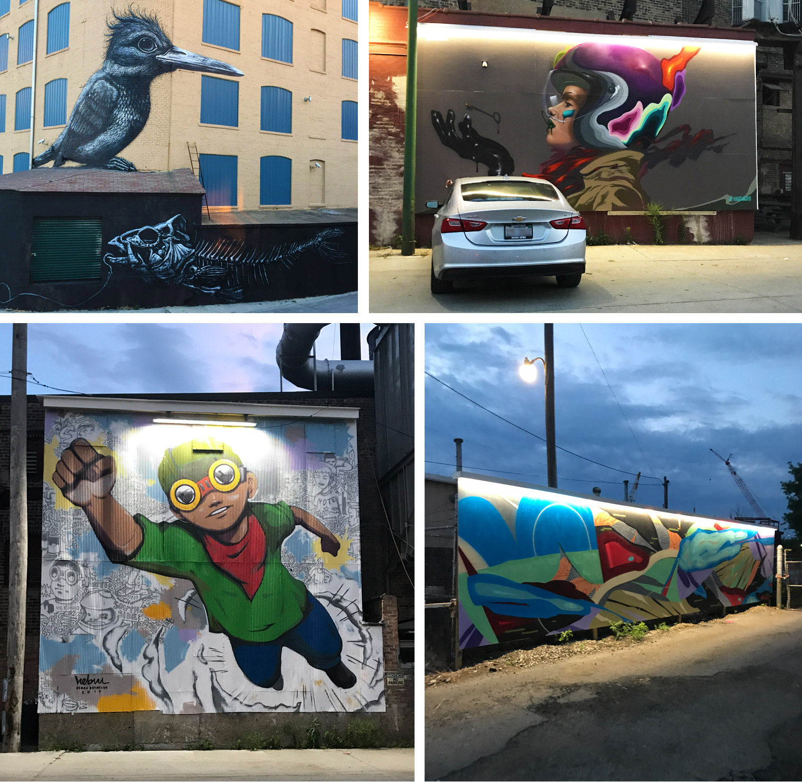Street art murals including Hebru Brantley's on Mendell Street in Chicago—No More Rahm